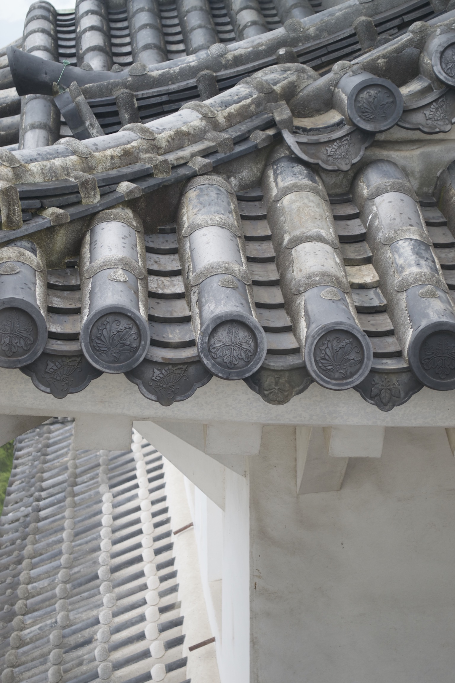 A close-up on the tiles shows circular caps at the end of the roof.