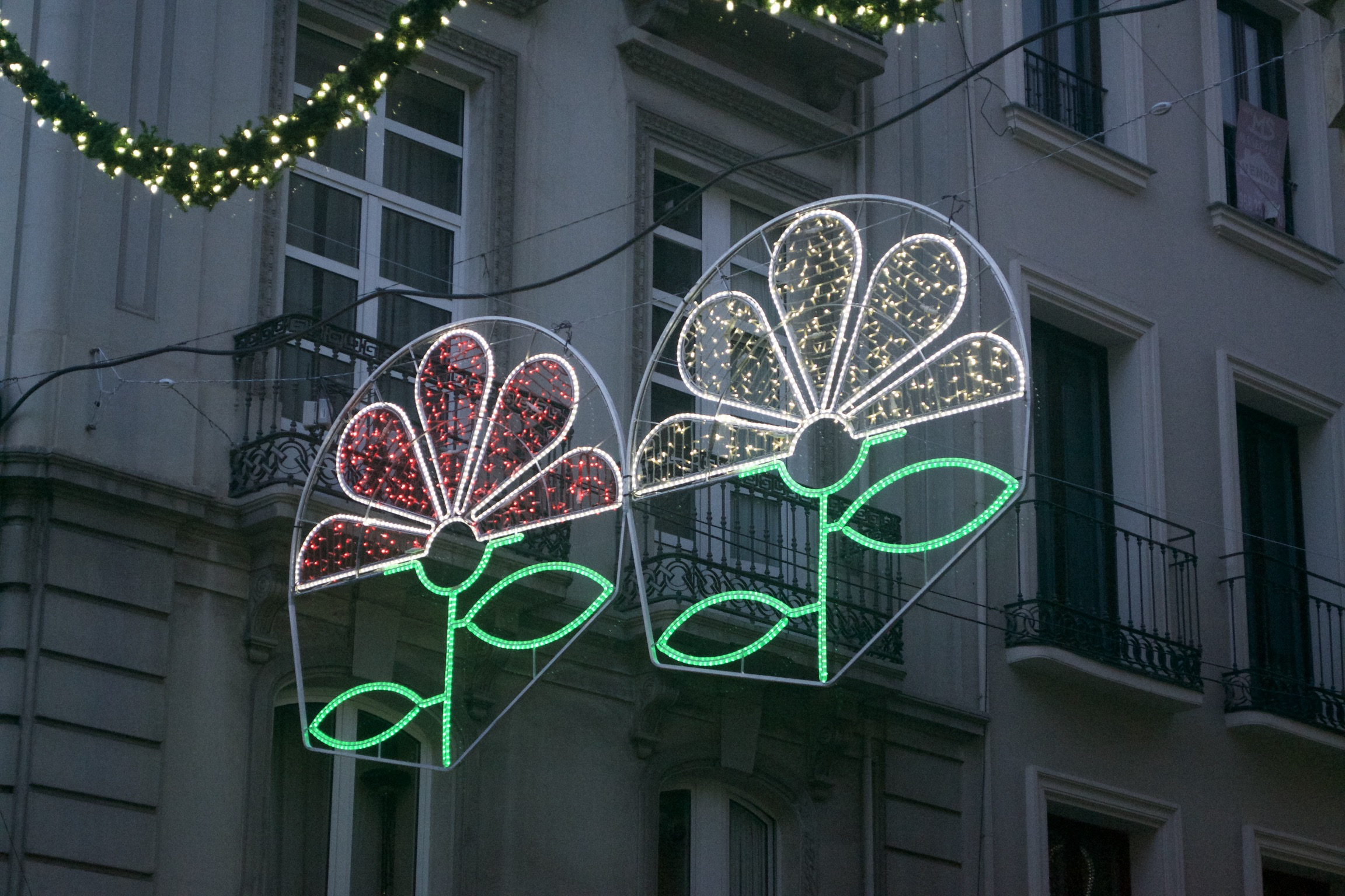 An illuminated wireframe image of two flowers hang in an alley.